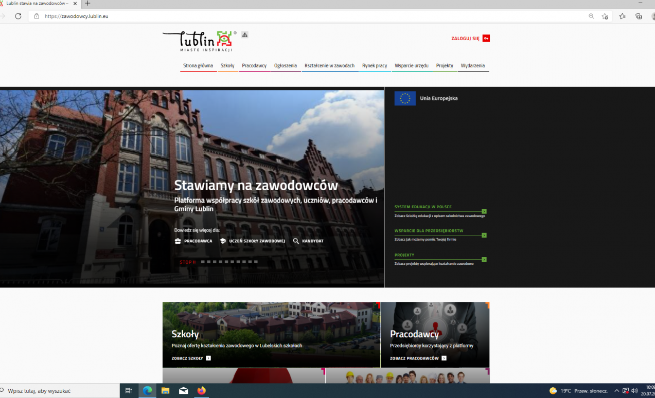 WEb page zawodowcy.lublin.eu